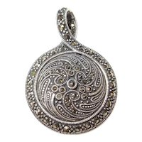Reversible Sterling Silver Onyx and Marcasite Pendant