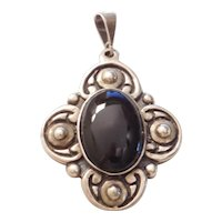 Mexico Big Sterling Silver Onyx Pendant