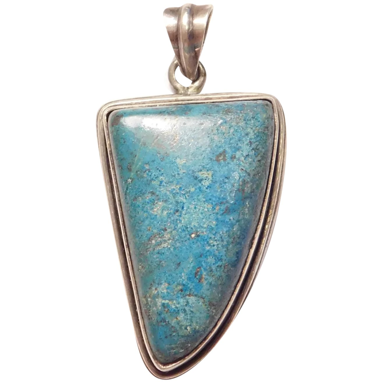 Chrysocolla pendant set with Sterling silver for man/'s or woman/'s rectangular shape