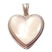 Sterling Silver Heart Mother of Pearl Pendant