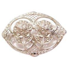 1930-40's Marcasite Flower Pin / Brooch