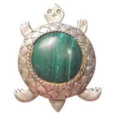 BIG Native American Malachite Turtle Pendant / Pin / Brooch Carlisle Jewelry Albuquerque
