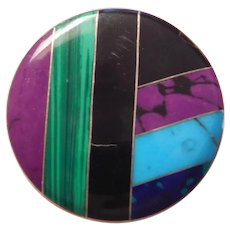 CII Mexico Sterling Silver Inlay Circle Pendant / Pin / Brooch