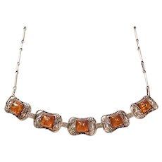 Sterling Silver Art Nouveau Floral Amber Necklace