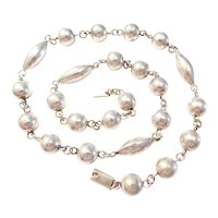 Vintage Bead Necklace Sterling Silver Mexico, Round & Navette