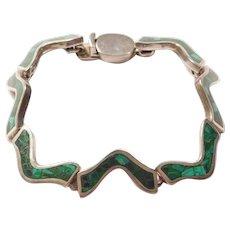 "950 Silver Malachite Zig-Zag Bracelet 7 3/4"""