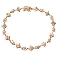 "7 1/2"" Sterling Silver Gold Plated Diamond Bracelet"