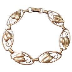 1/20th 12k Gold Filled Art Nouveau Leaf Bracelet
