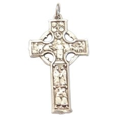 Unusual Ornate Cross Pendant by Bliss Sterling Silver, Depicting Biblical Scenes