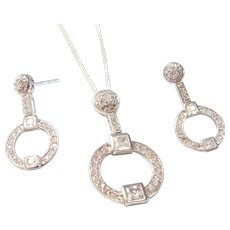 Sterling Silver Faux Diamond Necklace and Earrings Circle Set