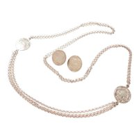"""33"""" Long Sterling Silver Necklace and Disk Stud Earrings Set"""