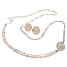"33"" Long Sterling Silver Necklace and Disk Stud Earrings Set"