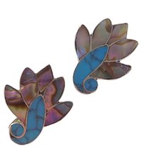 Vintage Screw-Back Earrings Sterling Silver, Abalone & Turquoise, TAXCO