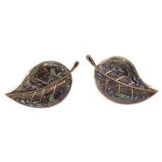 Vintage Screw-Back Earrings Sterling Silver Abalone Shell Leaf