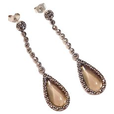 Long Dangle Vintage Earrings  Sterling Silver Smoky Quartz & Marcasite