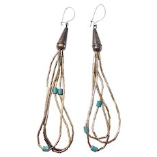 Vintage Long Native American Liquid Silver Turquoise Bead Loop Earrings