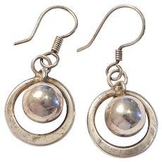 1960's Sterling Silver Orbit Dangle Earrings