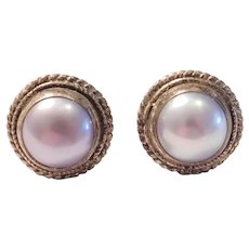 Classic Stud Earrings  Lavender Cultured Pearl Sterling Silver