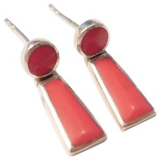 Colorful Red Enamel Drop Earrings Sterling Silver