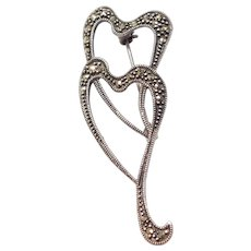 Double Heart Sterling Silver and Marcasite Pin / Brooch