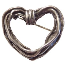 Vintage Sterling Silver Heart Pin / Brooch Mexico