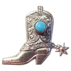 Vintage Sterling Silver South-West Turquoise Cowboy Boot Pin / Brooch