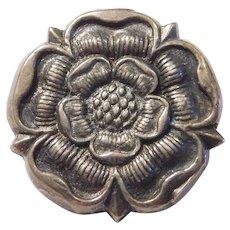 Tudor Rose Vintage Pin / Brooch Sterling Silver HM Makers Mark