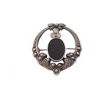Art Deco Revival Sterling Silver Black Onyx and Rhinestone Pin
