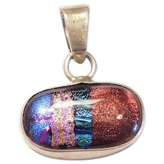 Colorful Vintage Dichroic Art Glass Pendant Sterling Silver Mexico