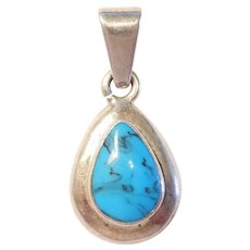 Vintage Bold Blue Dyed Howlite Teardrop Pendant Sterling Silver Mexico
