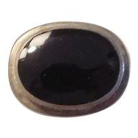 Vintage Black Onyx Slide Pendant Sterling Silver