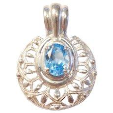 Vintage 1.98 Carat Swiss Blue Topaz Pendant Sterling Silver