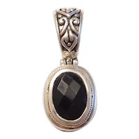 Vintage Faceted Black Onyx Pendant 18k Gold and Sterling Silver by Eleganza