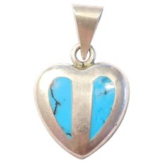 Vintage Turquoise Heart Pendant Sterling Silver Mexico