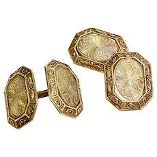 Art Deco Gents Cufflinks 10k Gold
