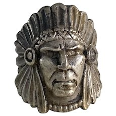 American Indian Chief Vintage Ring Sterling Silver