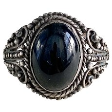 Vintage Handcrafted Ring Onyx & Sterling Silver Ornate Beaded Design