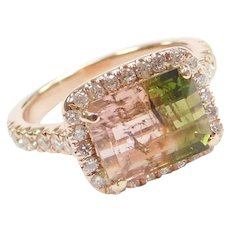 3.18 Carat Watermelon Tourmaline and .61 ctw Diamond Halo One of a Kind Engagement Ring 14k Rose Gold ~ 3.79 ctw