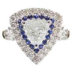 .87 Carat GIA Certified Trillion Cut Diamond Halo Engagement Ring with .68 ctw Diamonds and Sapphire Accents 143
