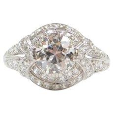 GIA Certified Edwardian 2.26 ctw Diamond Platinum Engagement Ring