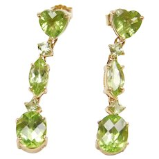 6.20 ctw Peridot Dangle Earrings 14k Gold