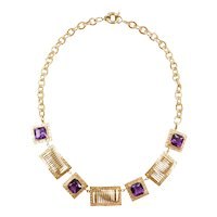 """18"""" 14k Gold 18.12 ctw Amethyst Necklace"""