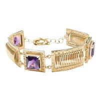 """8"""" 14k Gold Wide Amethyst Bracelet"""