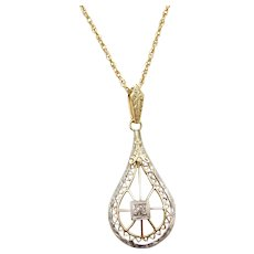 "Victorian Diamond Lavaliere Necklace 14k Gold and Platinum 17 1/2"" ~ Lavalier"