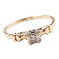 Art Deco 14k Gold Two-Tone Illusion Head .03 ct Diamond Engagement Ring
