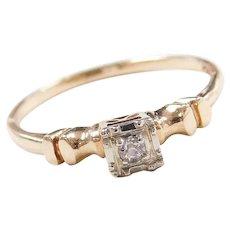 Art Deco 14k Gold Two-Tone Illusion Head .03 ct Diamond Engagement Ring