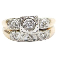14k Gold .03 Carat Diamond Engagement Ring and Wedding Band Set with Hearts ~ Two-Tone