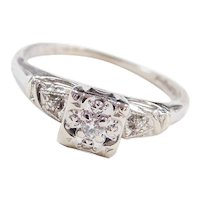 Art Deco 14k White Gold .045 ctw Diamond Engagement Ring ~ Illusion Head