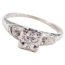 Art Deco 14k White Gold .045 ctw Diamond Engagement Ring ~ Illusion Head