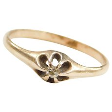 Edwardian 14k Gold .04 Carat Diamond Buttercup Engagement Ring